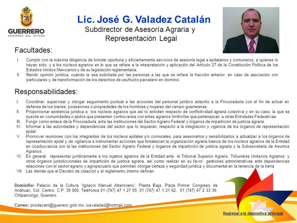 Facultades: Responsabilidades: Regresar a la diapositiva principal I.Brindar apoyo y asistencia jurídica en materia agraria a comuneros y ejidatarios.