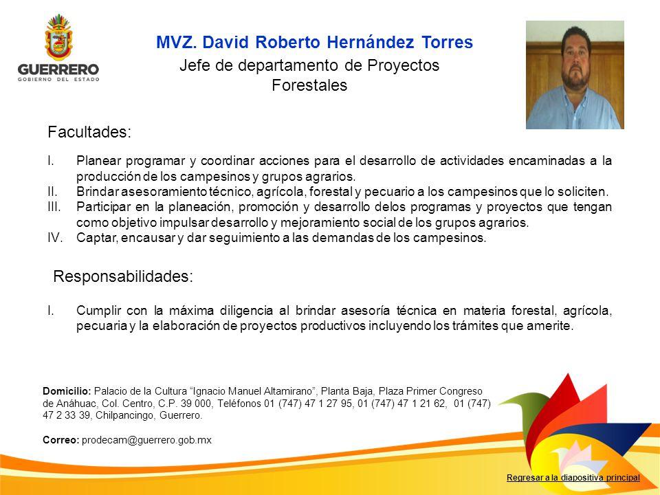 MVZ. David Roberto Hernández Torres Facultades: Responsabilidades: Regresar a la diapositiva principal Jefe de departamento de Proyectos Forestales I.