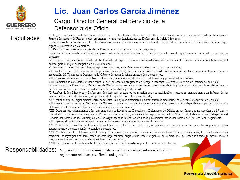 Lic. Juan Carlos García Jiménez Facultades: Responsabilidades: Regresar a la diapositiva principal Cargo: Director General del Servicio de la Defensor