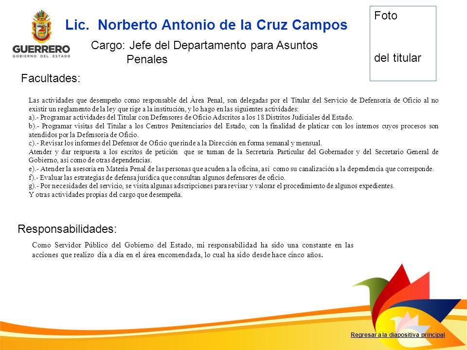 Facultades: Responsabilidades: Regresar a la diapositiva principal Lic. Norberto Antonio de la Cruz Campos Cargo: Jefe del Departamento para Asuntos P