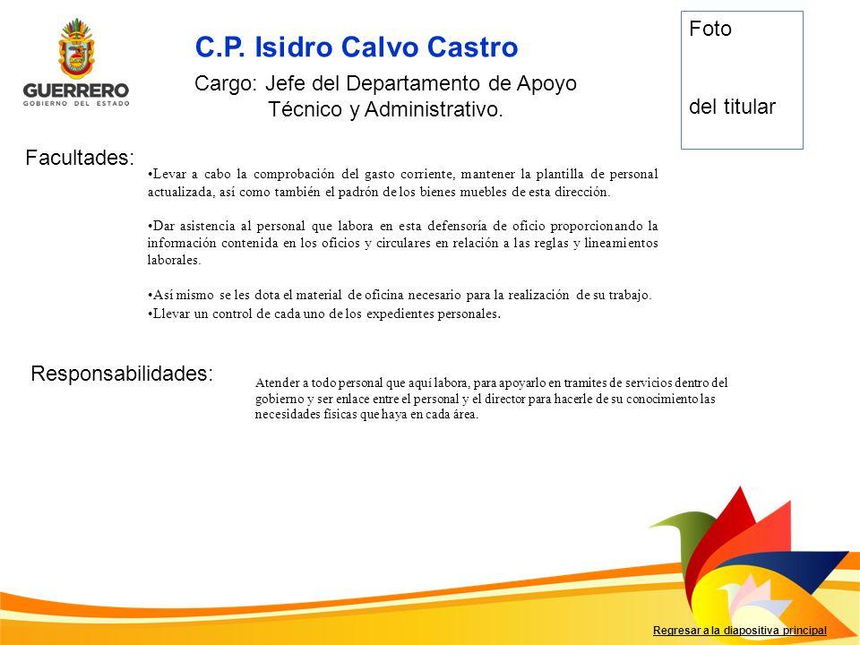 C.P. Isidro Calvo Castro Facultades: Responsabilidades: Regresar a la diapositiva principal Cargo: Jefe del Departamento de Apoyo Técnico y Administra