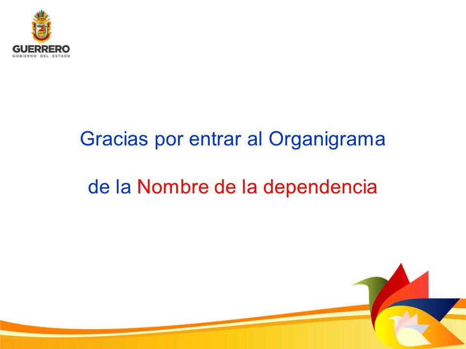 Gracias por entrar al Organigrama de la Nombre de la dependencia