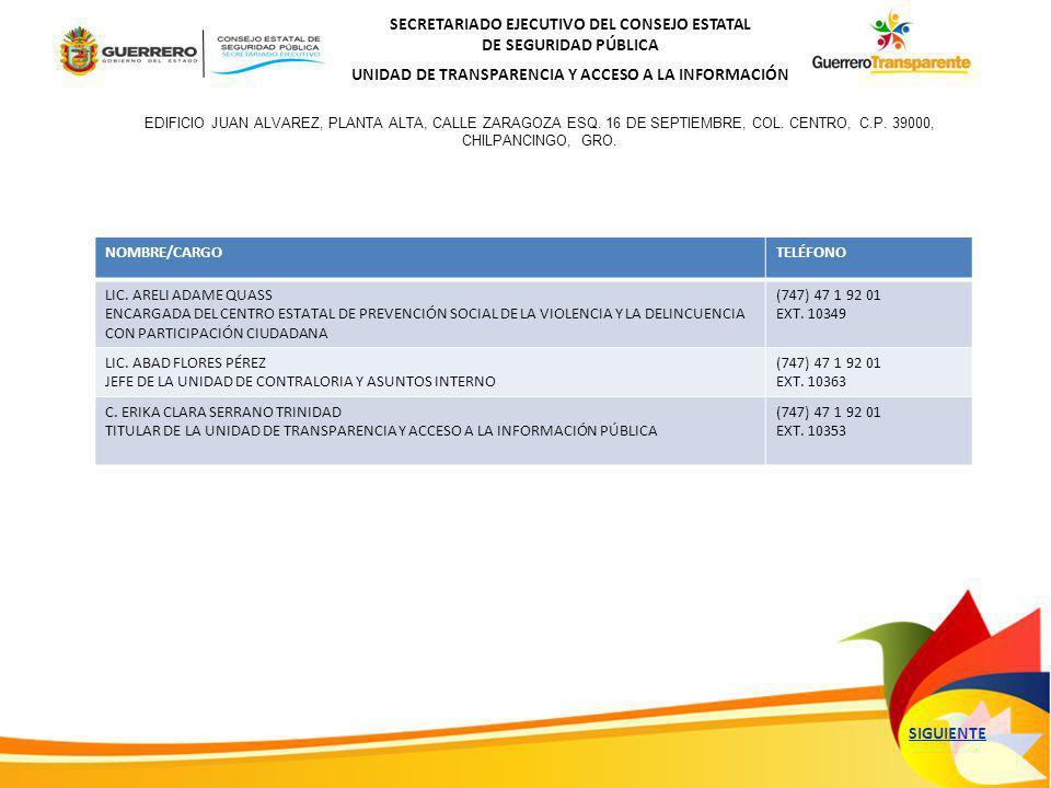 SECRETARIADO EJECUTIVO DEL CONSEJO ESTATAL DE SEGURIDAD PÚBLICA UNIDAD DE TRANSPARENCIA Y ACCESO A LA INFORMACIÓN NOMBRE/CARGOTELÉFONO LIC.