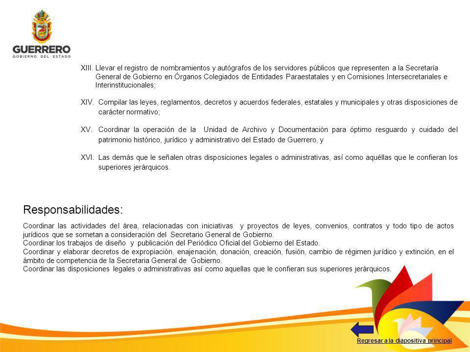 Responsabilidades: Regresar a la diapositiva principal Coordinar las actividades del área, relacionadas con iniciativas y proyectos de leyes, convenio