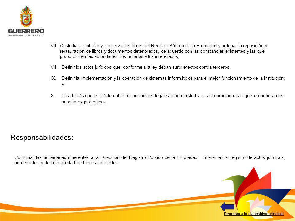 Responsabilidades: Regresar a la diapositiva principal Coordinar las actividades inherentes a la Dirección del Registro Público de la Propiedad, inher