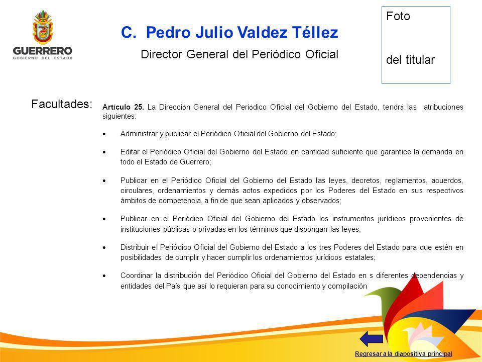 Facultades: Regresar a la diapositiva principal C. Pedro Julio Valdez Téllez Director General del Periódico Oficial Foto del titular Art í culo 25. La