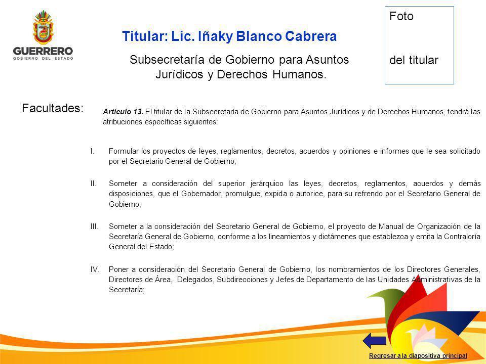Titular: Lic. Iñaky Blanco Cabrera Facultades: Regresar a la diapositiva principal Subsecretaría de Gobierno para Asuntos Jurídicos y Derechos Humanos