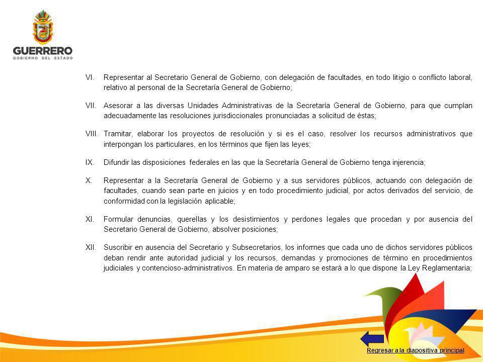 Regresar a la diapositiva principal VI.Representar al Secretario General de Gobierno, con delegación de facultades, en todo litigio o conflicto labora
