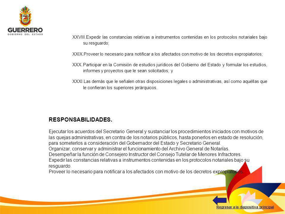 Regresar a la diapositiva principal XXVIII.Expedir las constancias relativas a instrumentos contenidas en los protocolos notariales bajo su resguardo;
