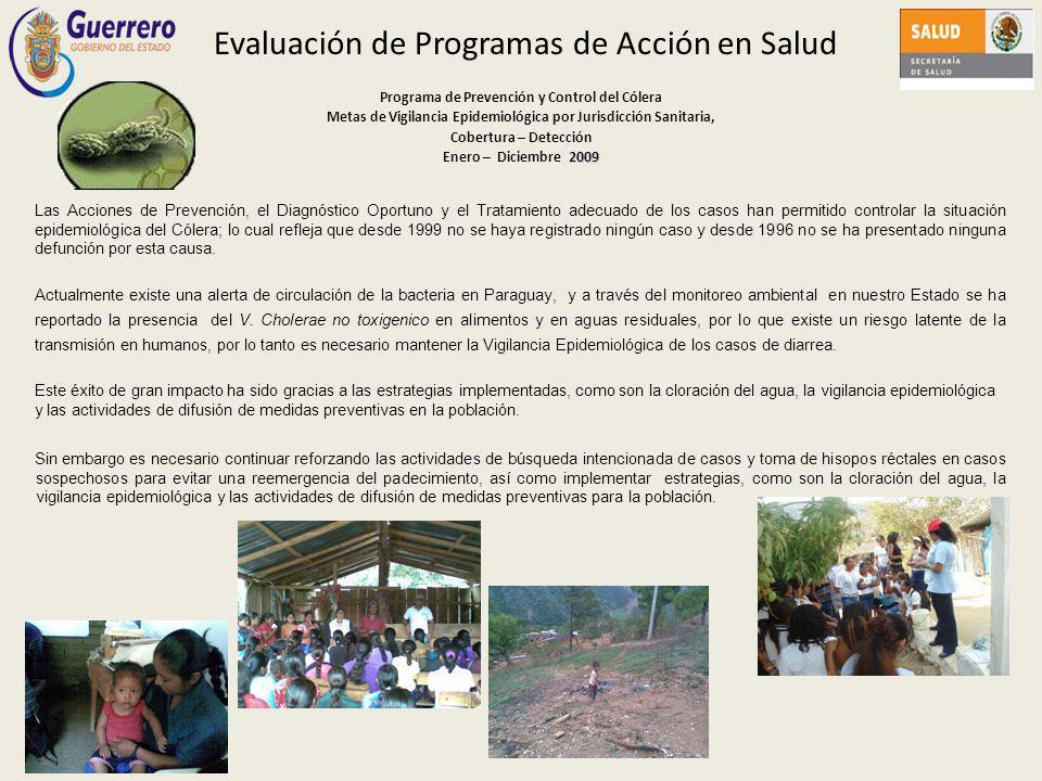 Evaluación de Programas de Acción en Salud Programa de Prevención y Control del Cólera Metas de Vigilancia Epidemiológica por Jurisdicción Sanitaria,