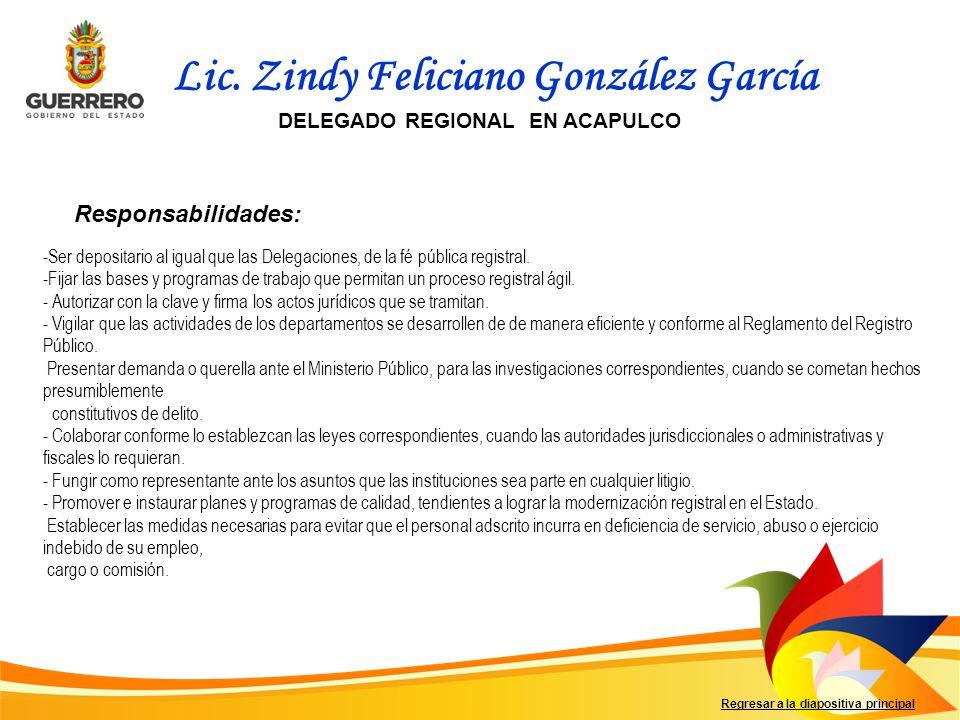 Responsabilidades: Regresar a la diapositiva principal - Ser depositario al igual que las Delegaciones, de la fé pública registral.