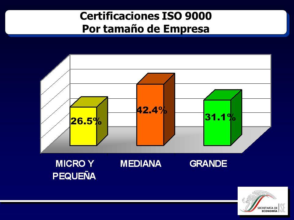 Certificaciones ISO 9000 Por tamaño de Empresa Certificaciones ISO 9000 Por tamaño de Empresa