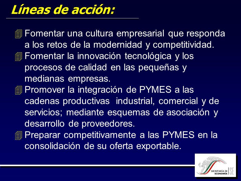Líneas de acción: 4 4Fomentar una cultura empresarial que responda a los retos de la modernidad y competitividad. 4 4Fomentar la innovación tecnológic