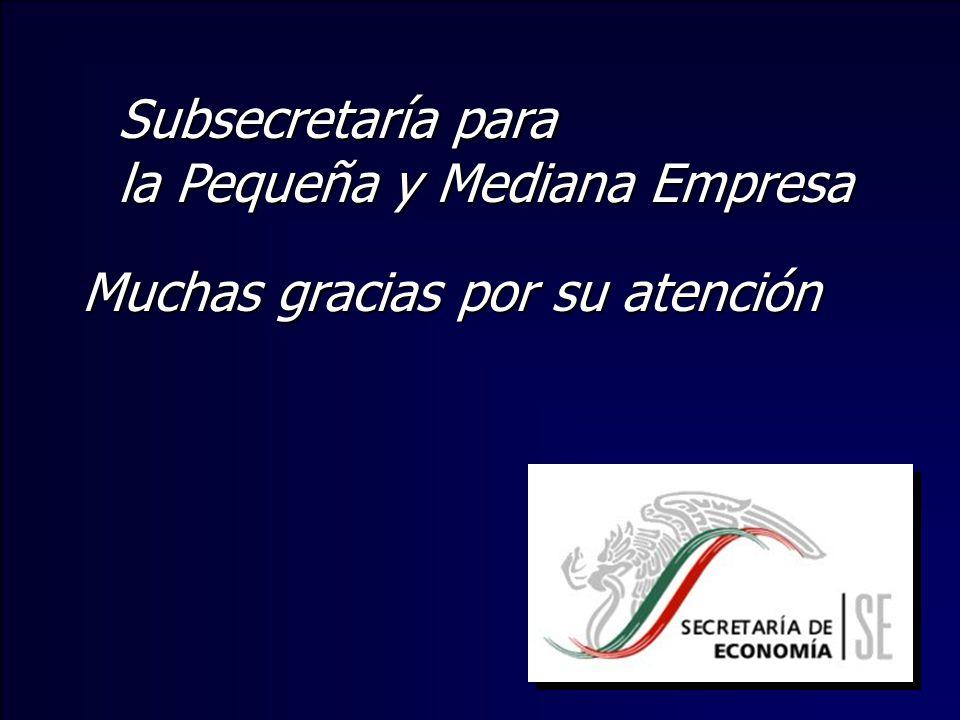 Subsecretaría para la Pequeña y Mediana Empresa Muchas gracias por su atención