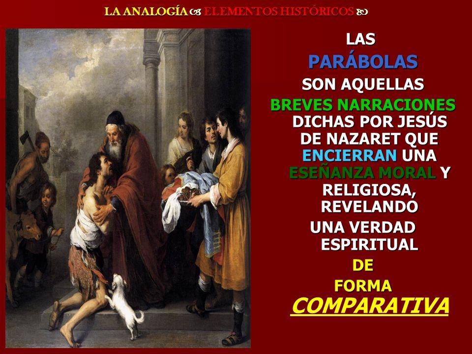 LA ANALOGÍA ELEMENTOS HISTÓRICOS LA ANALOGÍA ELEMENTOS HISTÓRICOS LAS PARÁBOLAS PARÁBOLAS SON AQUELLAS SON AQUELLAS BREVES NARRACIONES DICHAS POR JESÚ