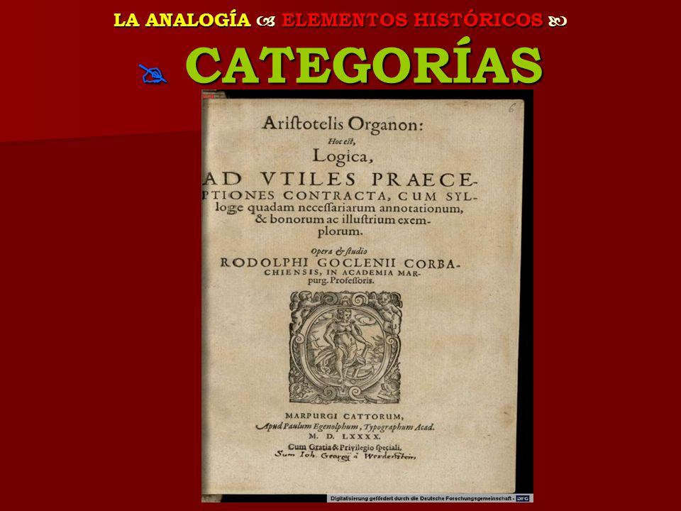 LA ANALOGÍA ELEMENTOS HISTÓRICOS LA ANALOGÍA ELEMENTOS HISTÓRICOS CATEGORÍAS CATEGORÍAS