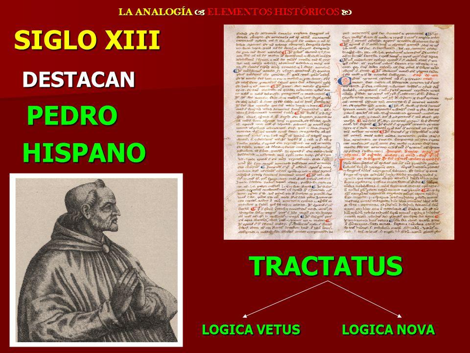 LA ANALOGÍA ELEMENTOS HISTÓRICOS LA ANALOGÍA ELEMENTOS HISTÓRICOS SIGLO XIII DESTACAN DESTACAN PEDRO PEDRO HISPANO HISPANOTRACTATUS LOGICA VETUS LOGIC
