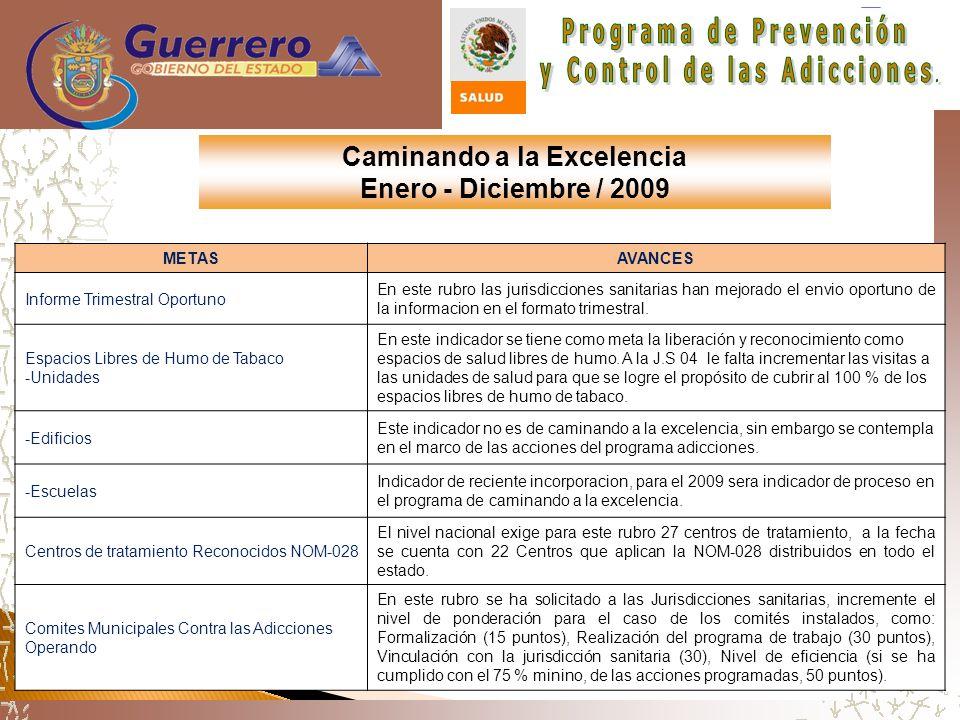 Caminando a la Excelencia Enero - Diciembre / 2009 METASAVANCES Informe Trimestral Oportuno En este rubro las jurisdicciones sanitarias han mejorado el envio oportuno de la informacion en el formato trimestral.