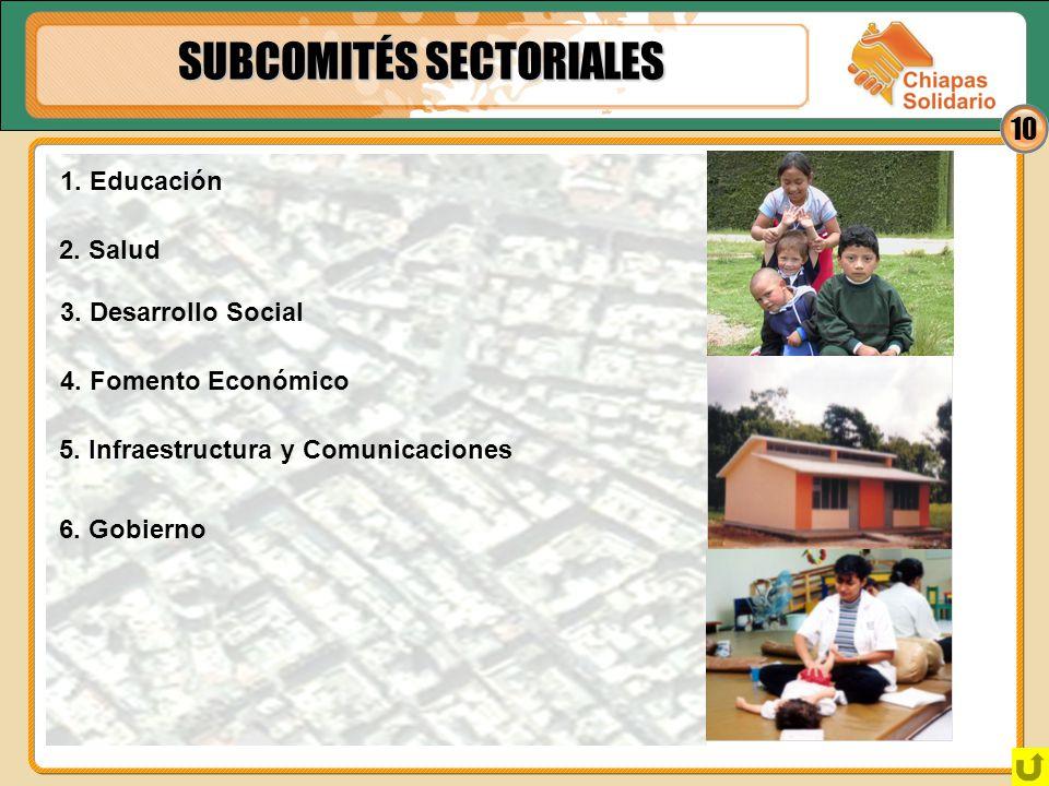10 SUBCOMITÉS SECTORIALES 3. Desarrollo Social 1. Educación 2. Salud 4. Fomento Económico 5. Infraestructura y Comunicaciones 6. Gobierno