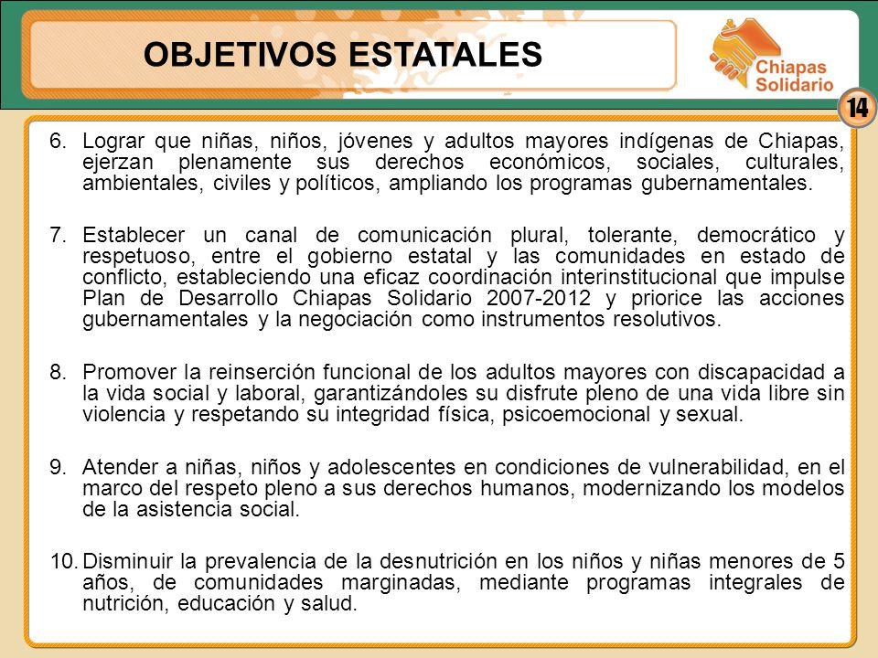 14 6.Lograr que niñas, niños, jóvenes y adultos mayores indígenas de Chiapas, ejerzan plenamente sus derechos económicos, sociales, culturales, ambien