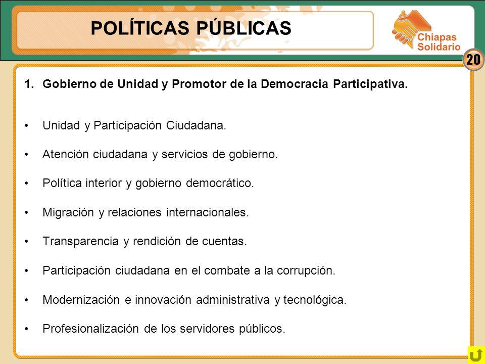 20 Atención ciudadana y servicios de gobierno. Política interior y gobierno democrático. Migración y relaciones internacionales. Transparencia y rendi
