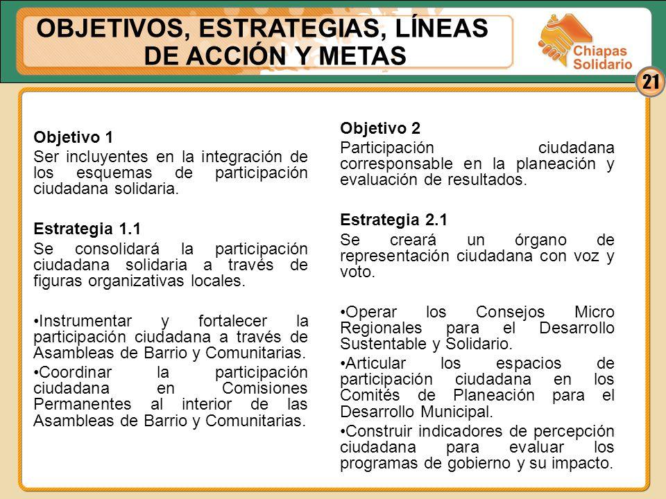 21 Objetivo 1 Ser incluyentes en la integración de los esquemas de participación ciudadana solidaria. Estrategia 1.1 Se consolidará la participación c