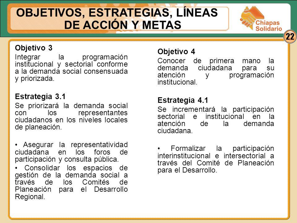 22 Objetivo 3 Integrar la programación institucional y sectorial conforme a la demanda social consensuada y priorizada. Estrategia 3.1 Se priorizará l
