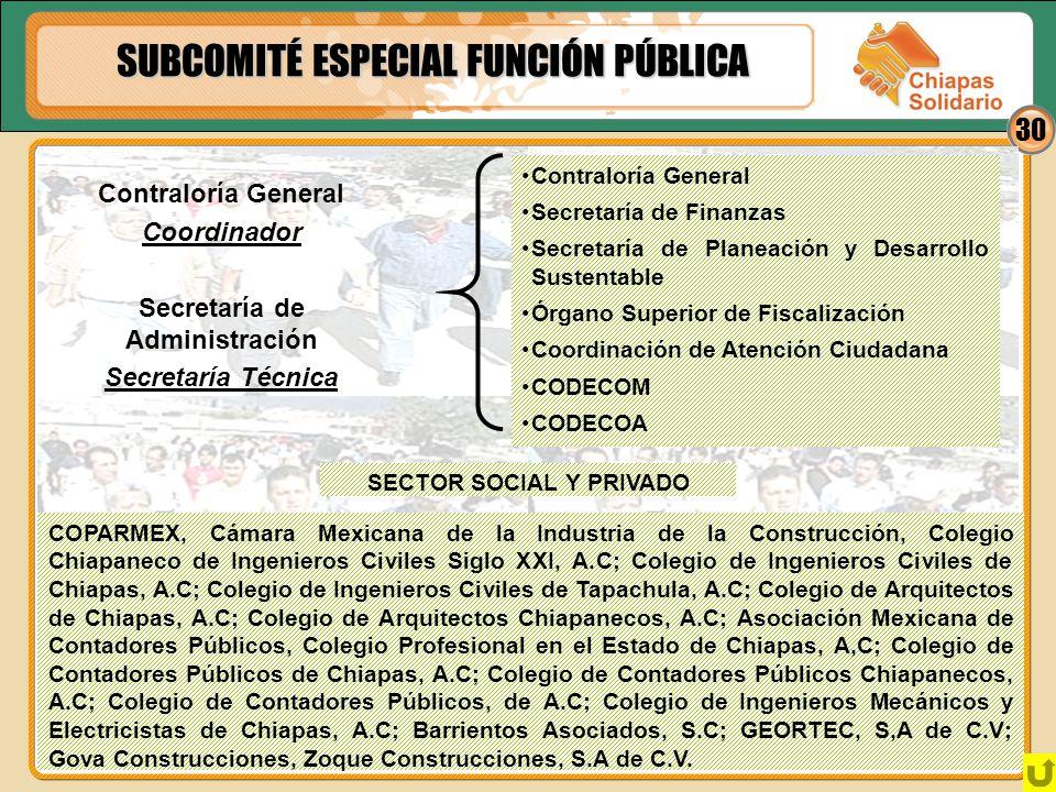 30 SUBCOMITÉ ESPECIAL FUNCIÓN PÚBLICA SECTOR SOCIAL Y PRIVADO COPARMEX, Cámara Mexicana de la Industria de la Construcción, Colegio Chiapaneco de Inge