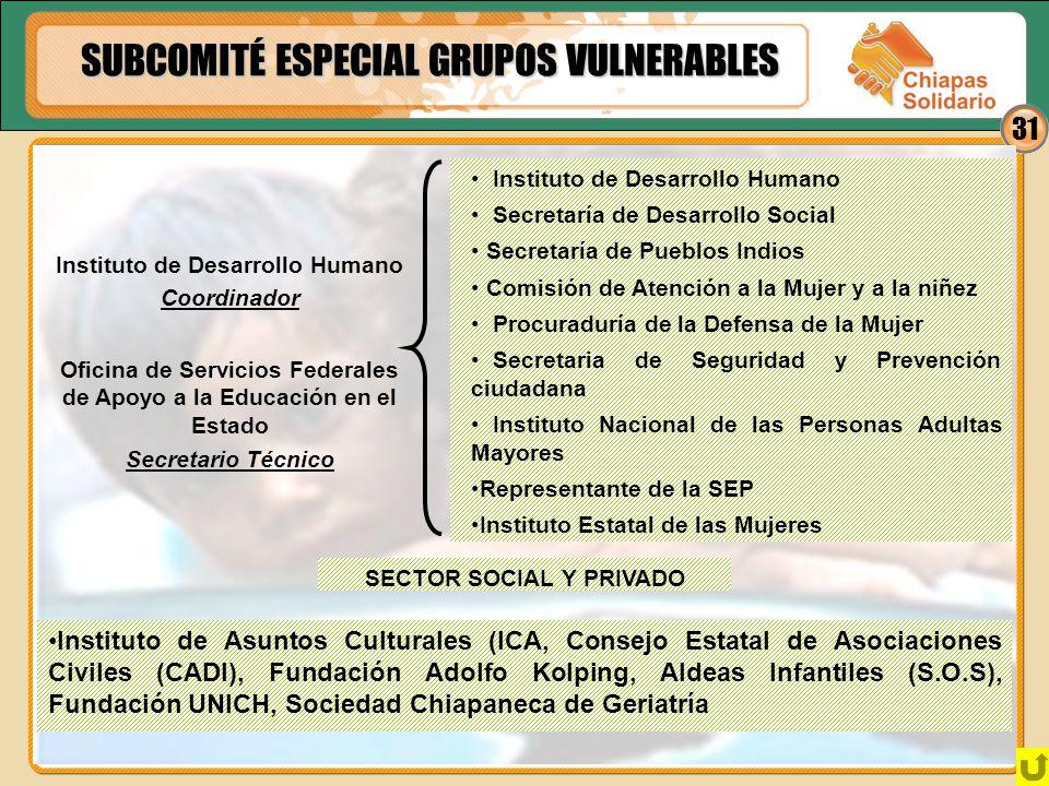 31 SUBCOMITÉ ESPECIAL GRUPOS VULNERABLES Instituto de Desarrollo Humano Coordinador Oficina de Servicios Federales de Apoyo a la Educación en el Estad