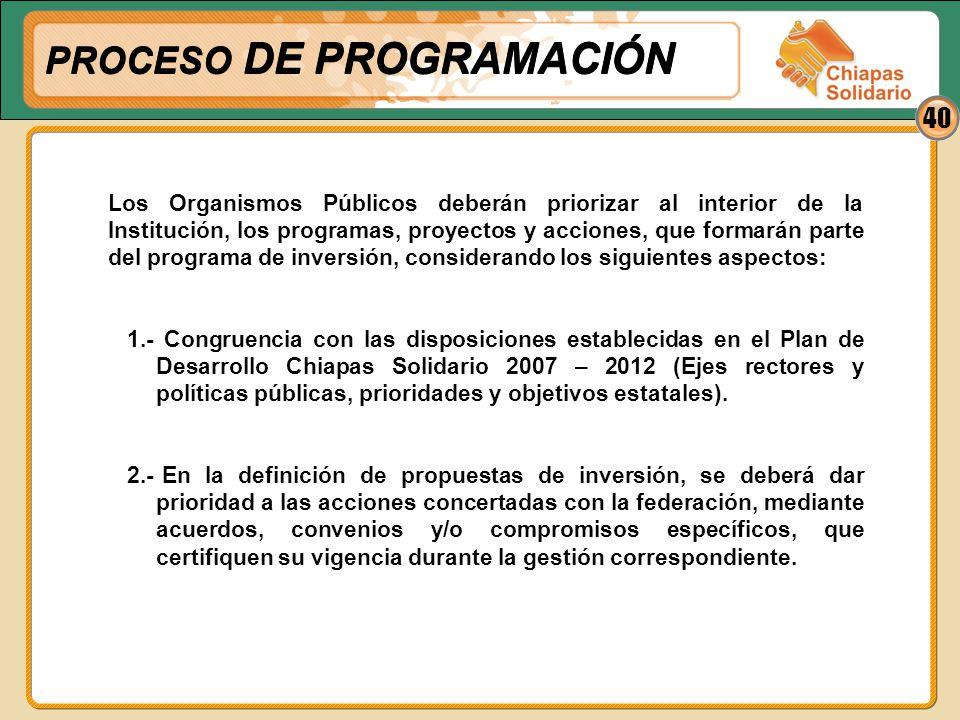 40 Los Organismos Públicos deberán priorizar al interior de la Institución, los programas, proyectos y acciones, que formarán parte del programa de in
