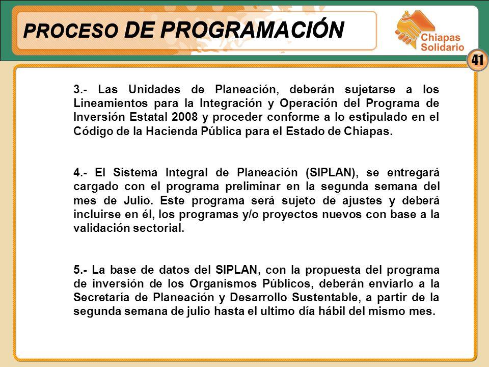 41 3.- Las Unidades de Planeación, deberán sujetarse a los Lineamientos para la Integración y Operación del Programa de Inversión Estatal 2008 y proce