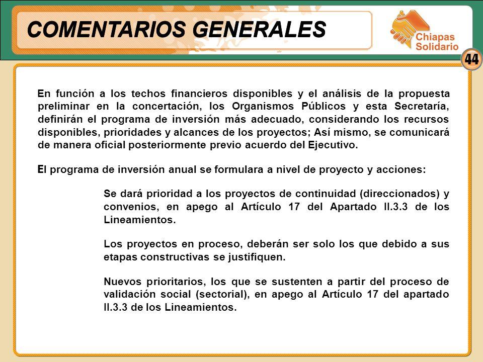 44 En función a los techos financieros disponibles y el análisis de la propuesta preliminar en la concertación, los Organismos Públicos y esta Secreta
