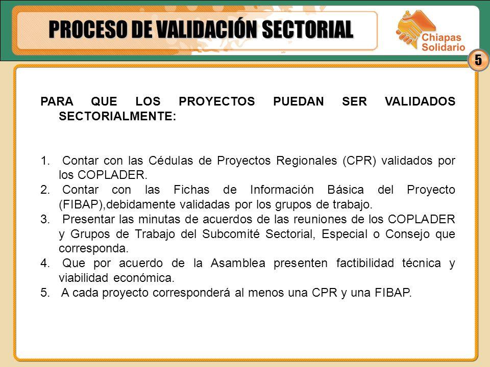 5 PARA QUE LOS PROYECTOS PUEDAN SER VALIDADOS SECTORIALMENTE: 1. Contar con las Cédulas de Proyectos Regionales (CPR) validados por los COPLADER. 2. C