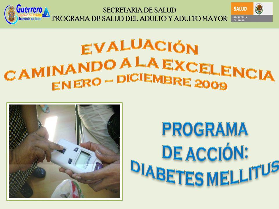 ENERO – DICIEMBRE 2009 SECRETARIA DE SALUD PROGRAMA DE SALUD DEL ADULTO Y ADULTO MAYOR CALIDAD DE LA ATENCIÓN - CONTROL METABÓLICO TOTAL DE PACIENTES DIABÉTICOS CON GLICEMIA MENOR A 126 mg/dL, ENTRE EL TOTAL DE PACIENTES DIABÉTICOS REGISTRADOS EN TRATAMIENTO, POR 100.