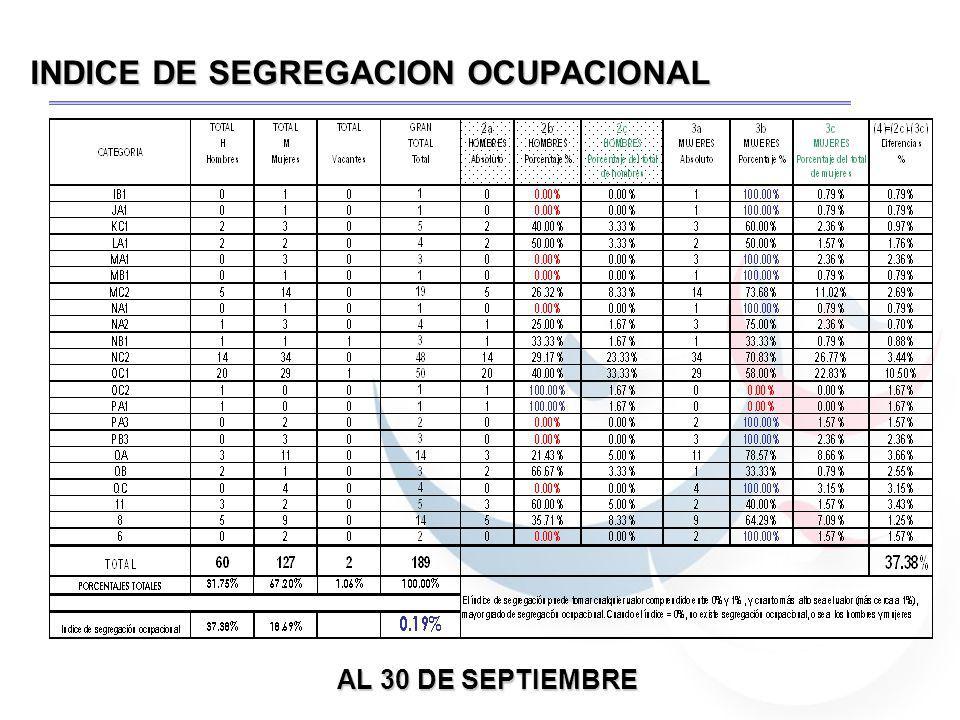 INDICE DE SEGREGACION OCUPACIONAL AL 30 DE SEPTIEMBRE