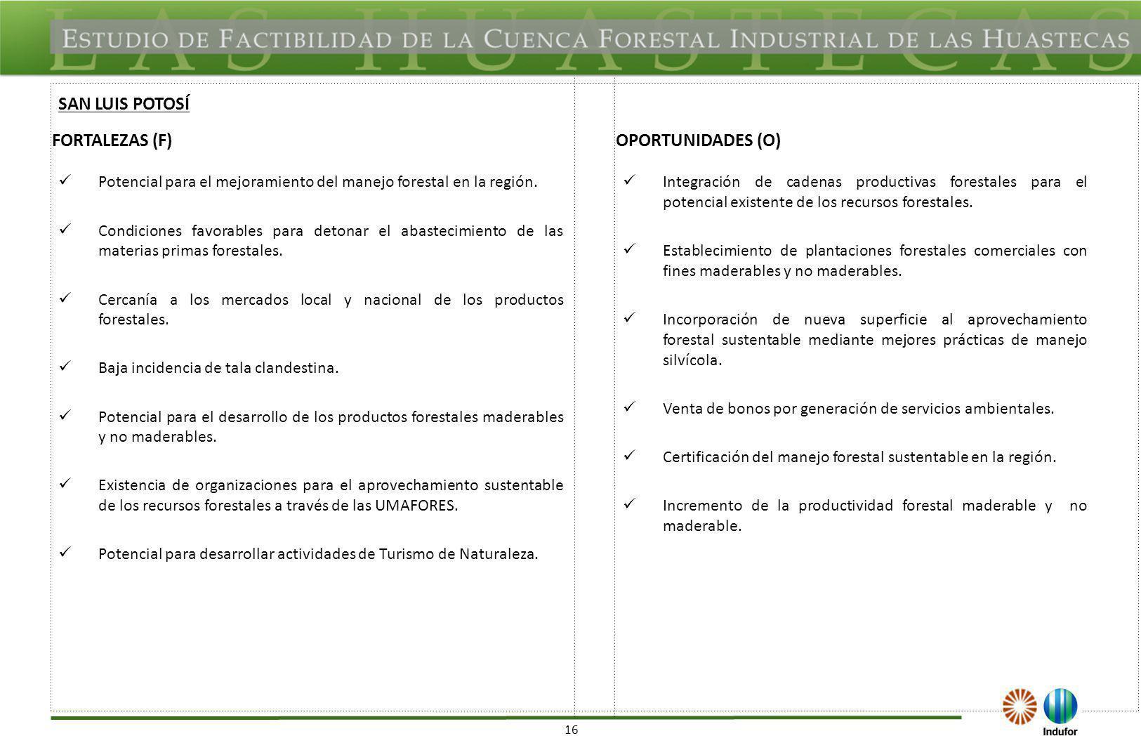 16 FORTALEZAS (F)OPORTUNIDADES (O) Potencial para el mejoramiento del manejo forestal en la región. Condiciones favorables para detonar el abastecimie