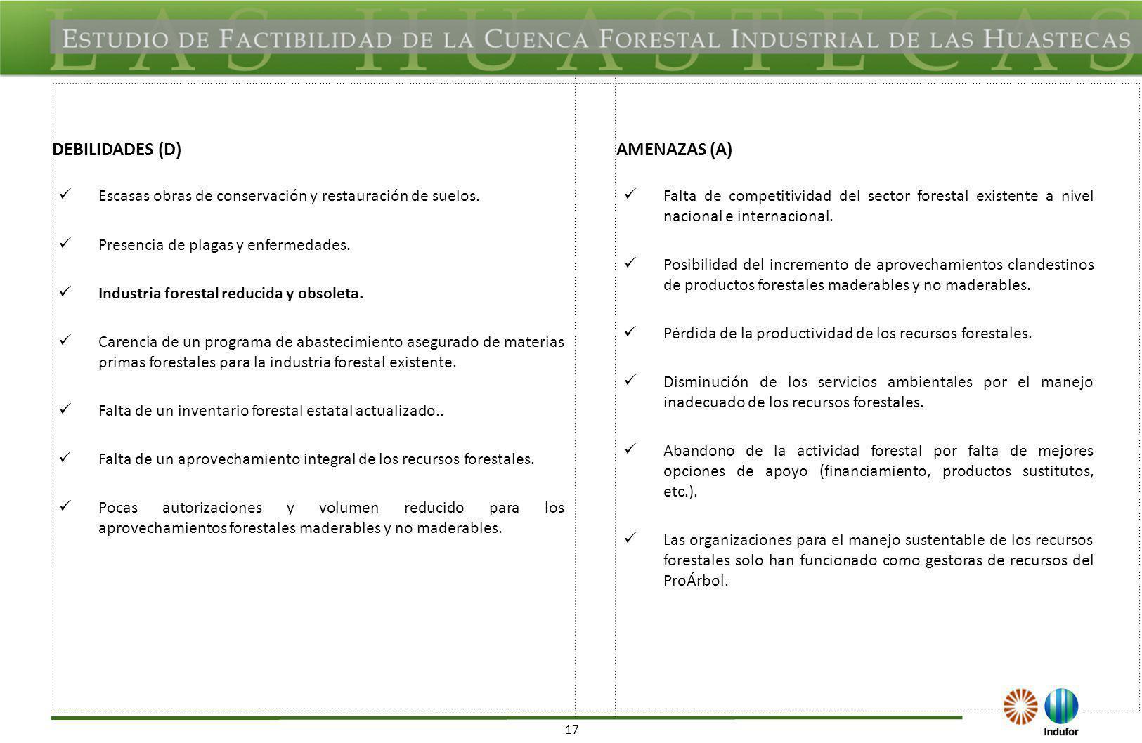17 DEBILIDADES (D)AMENAZAS (A) Escasas obras de conservación y restauración de suelos. Presencia de plagas y enfermedades. Industria forestal reducida