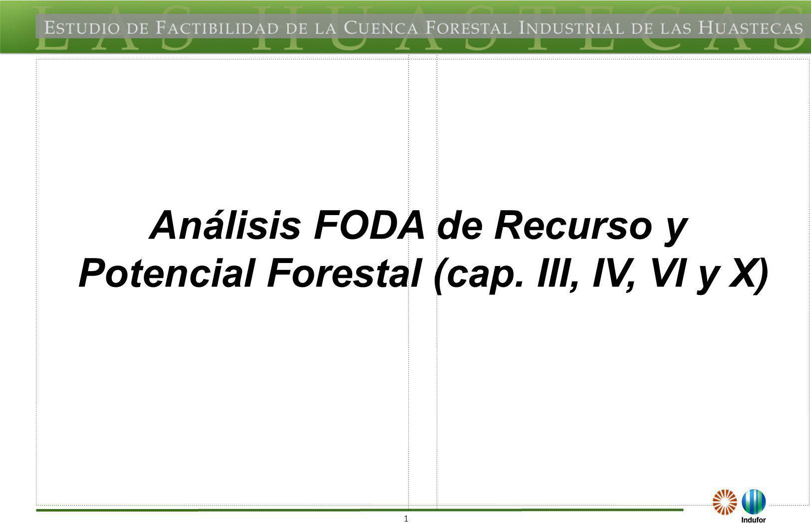 22 FODA REGIONAL DEL RECURSO POTENCIAL FORTALEZAS (F) OPORTUNIDADES (O) Estrategias y líneas de acción bien definidas en los Programas Estratégicos de Desarrollo Forestal de los estados pertenecientes a la Cuenca de Las Huastecas.