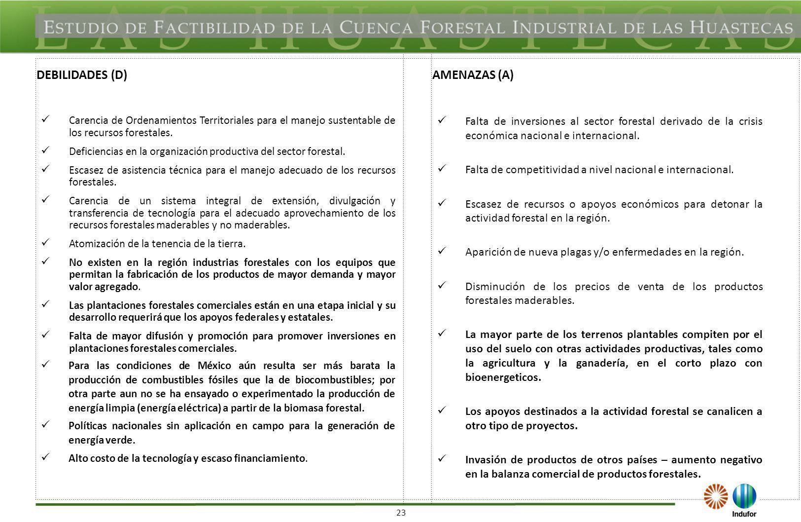 23 DEBILIDADES (D)AMENAZAS (A) Carencia de Ordenamientos Territoriales para el manejo sustentable de los recursos forestales. Deficiencias en la organ