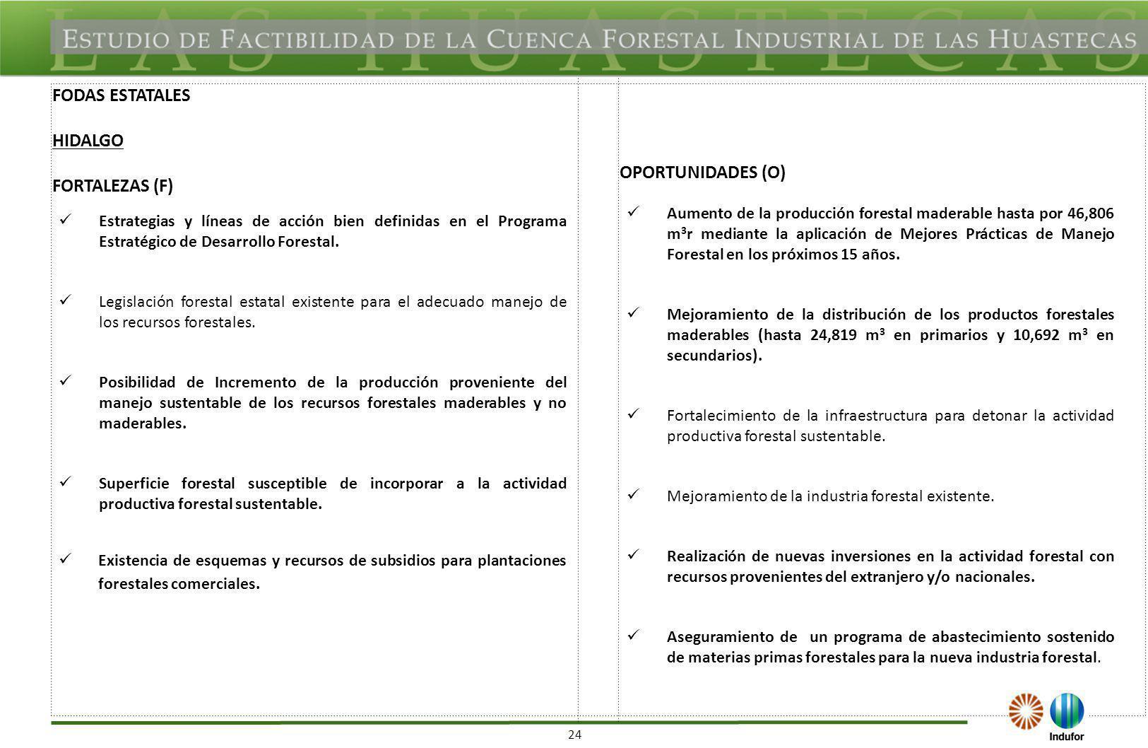 24 FODAS ESTATALES HIDALGO FORTALEZAS (F) OPORTUNIDADES (O) Estrategias y líneas de acción bien definidas en el Programa Estratégico de Desarrollo For