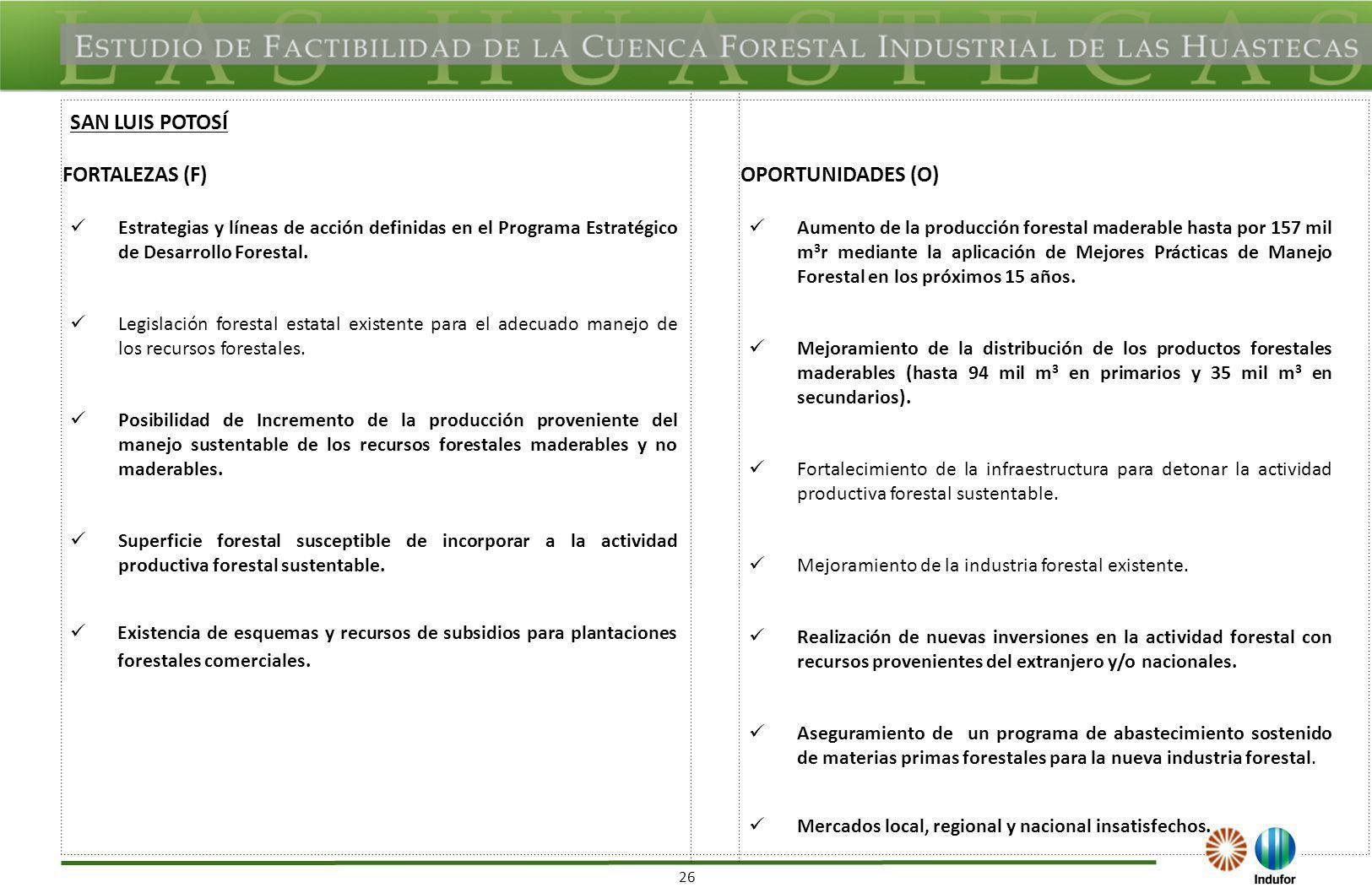 26 FORTALEZAS (F)OPORTUNIDADES (O) Estrategias y líneas de acción definidas en el Programa Estratégico de Desarrollo Forestal. Legislación forestal es
