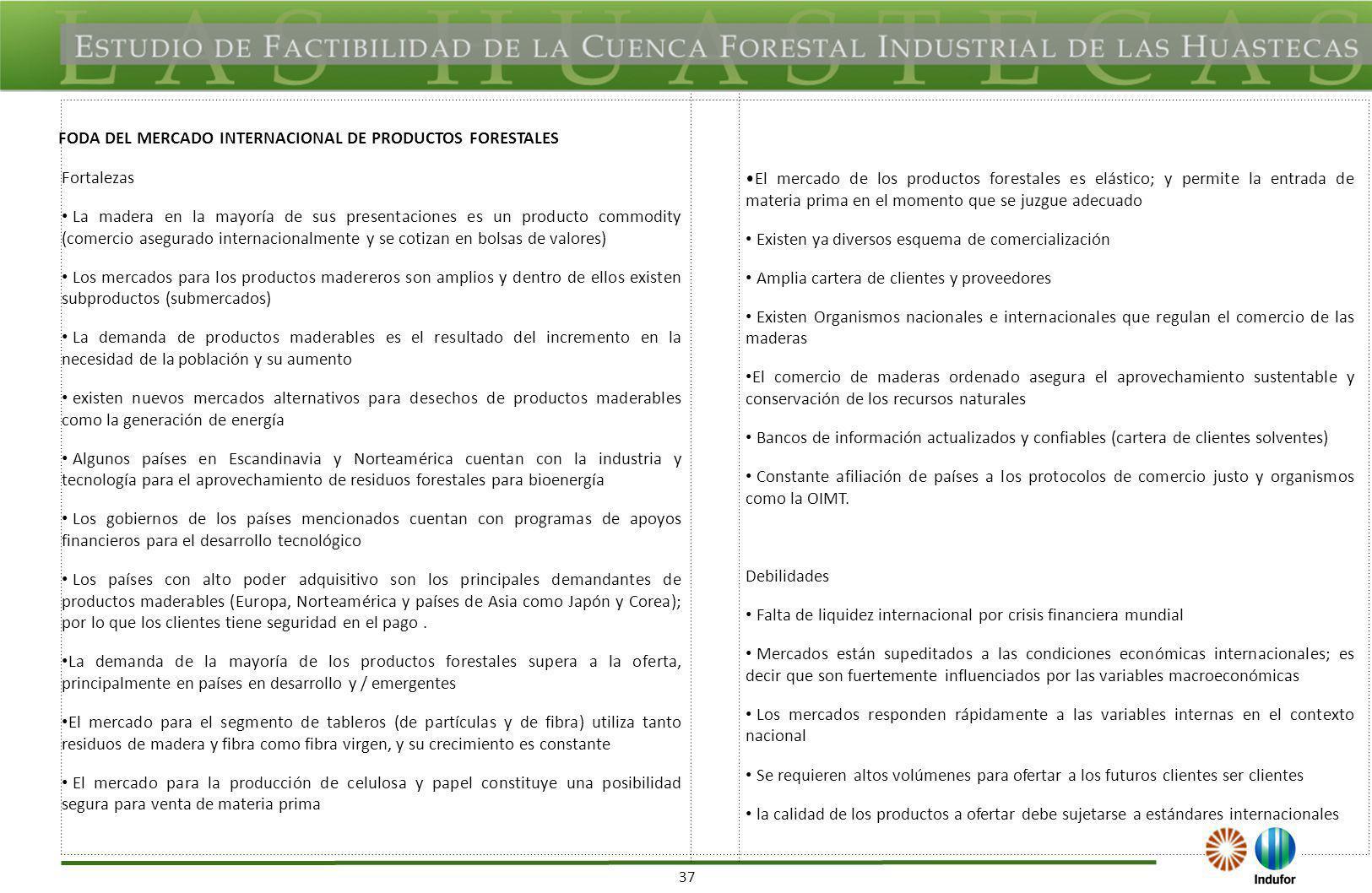37 FODA DEL MERCADO INTERNACIONAL DE PRODUCTOS FORESTALES Fortalezas La madera en la mayoría de sus presentaciones es un producto commodity (comercio