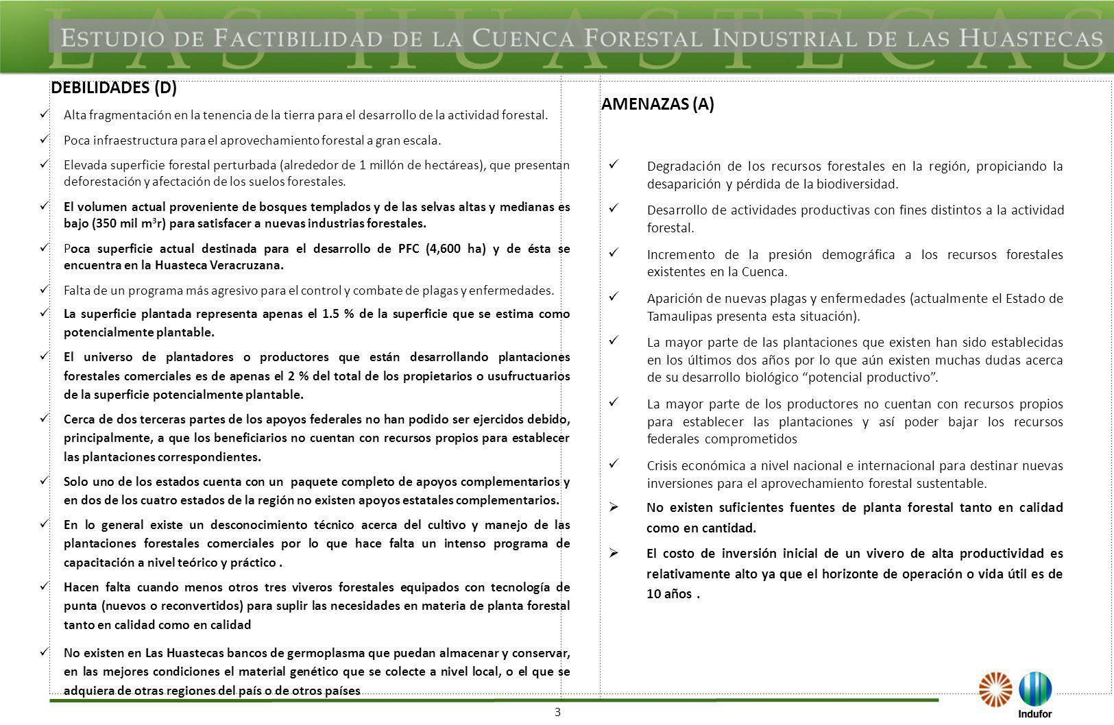 3 DEBILIDADES (D) AMENAZAS (A) Alta fragmentación en la tenencia de la tierra para el desarrollo de la actividad forestal. Poca infraestructura para e