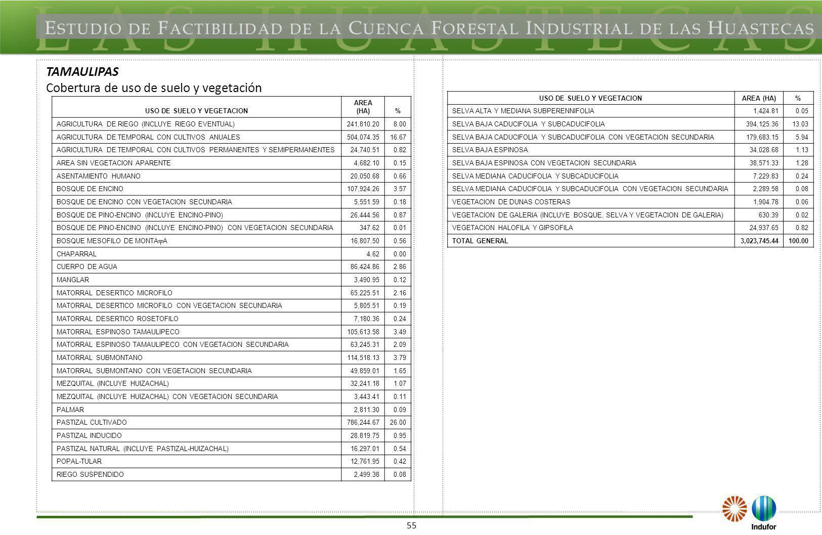 55 TAMAULIPAS Cobertura de uso de suelo y vegetación USO DE SUELO Y VEGETACION AREA (HA)% AGRICULTURA DE RIEGO (INCLUYE RIEGO EVENTUAL)241,810.208.00