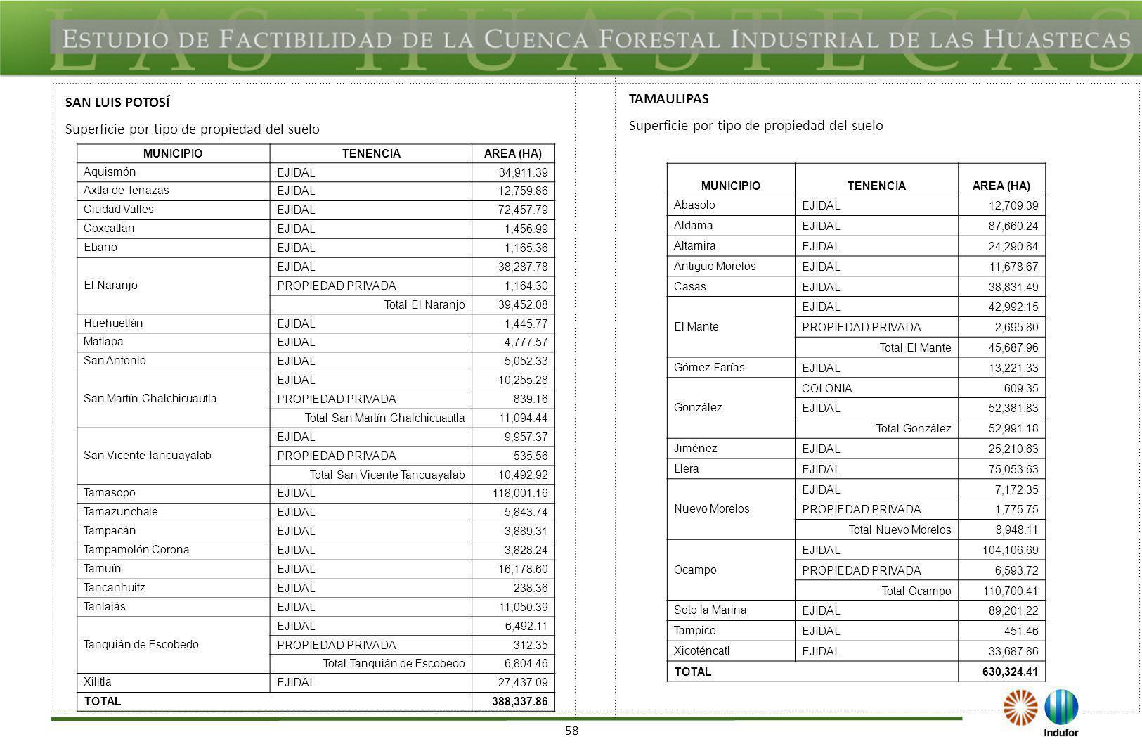 58 MUNICIPIOTENENCIAAREA (HA) Aquismón EJIDAL34,911.39 Axtla de Terrazas EJIDAL12,759.86 Ciudad Valles EJIDAL72,457.79 Coxcatlán EJIDAL1,456.99 Ebano