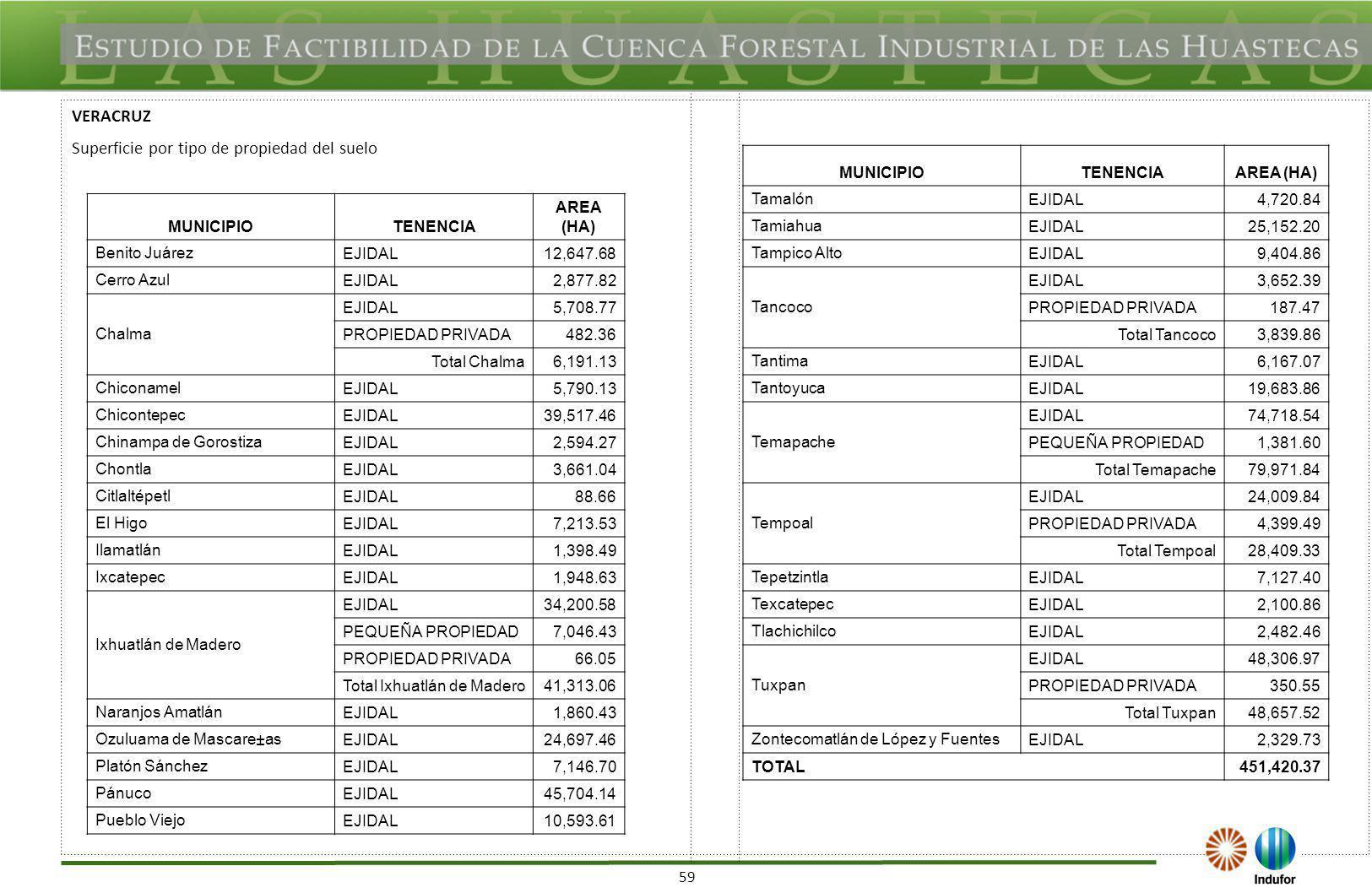 59 VERACRUZ Superficie por tipo de propiedad del suelo MUNICIPIOTENENCIA AREA (HA) Benito Juárez EJIDAL12,647.68 Cerro Azul EJIDAL2,877.82 Chalma EJID