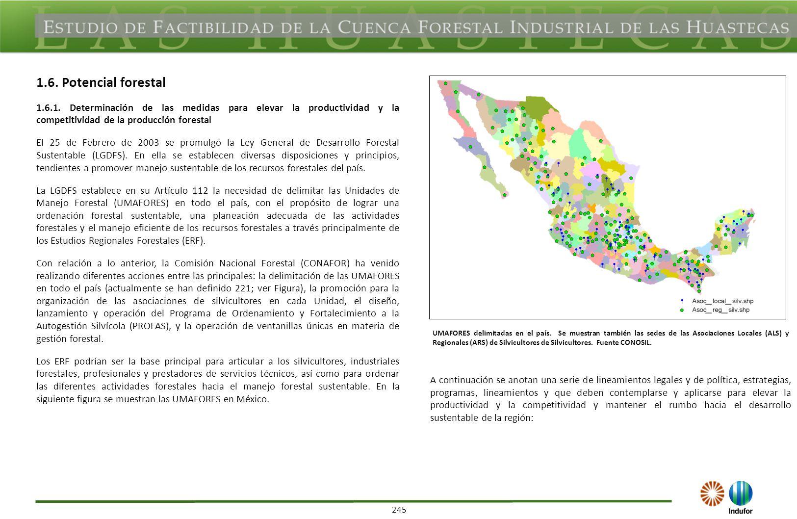 245 1.6. Potencial forestal 1.6.1. Determinación de las medidas para elevar la productividad y la competitividad de la producción forestal El 25 de Fe