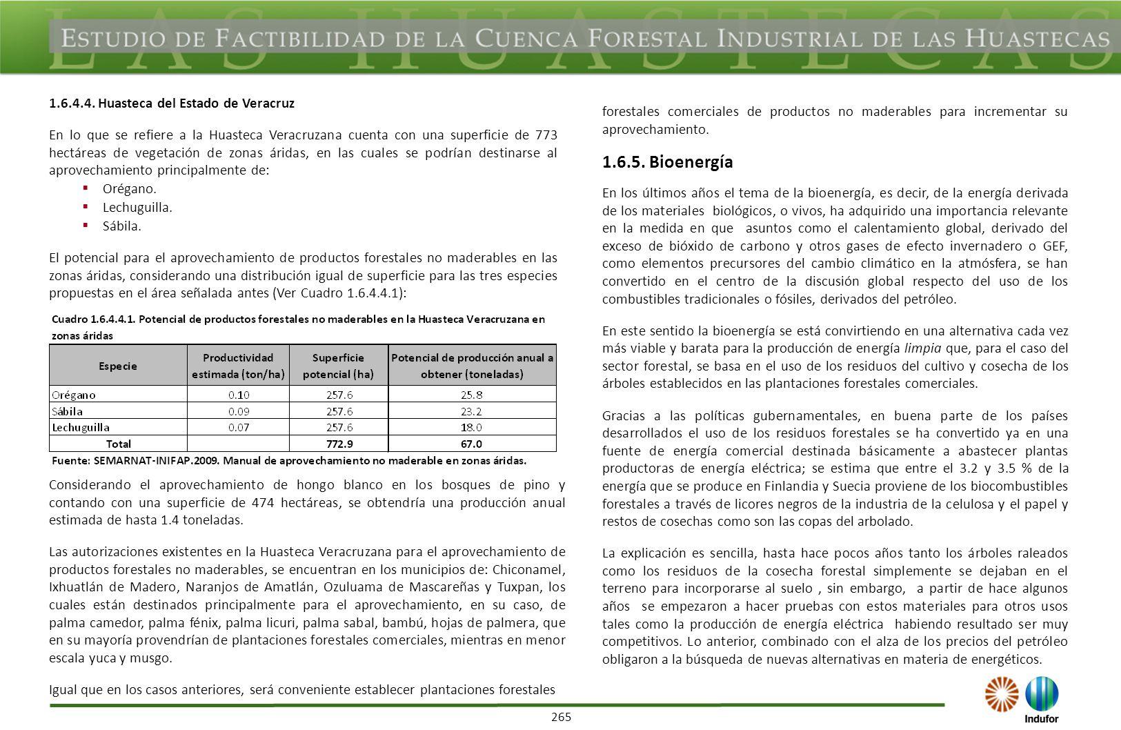 265 1.6.4.4. Huasteca del Estado de Veracruz En lo que se refiere a la Huasteca Veracruzana cuenta con una superficie de 773 hectáreas de vegetación d
