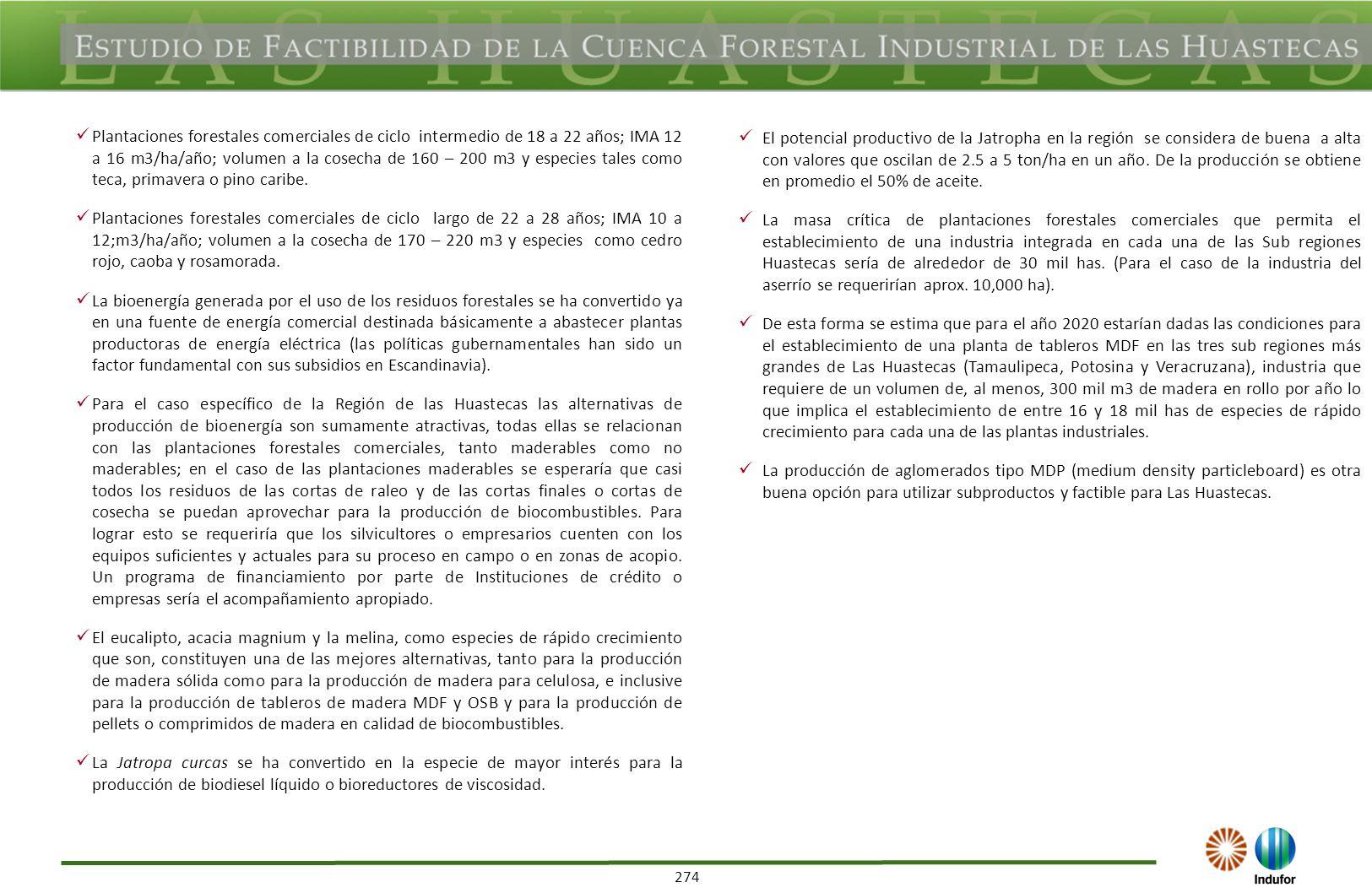 274 Plantaciones forestales comerciales de ciclo intermedio de 18 a 22 años; IMA 12 a 16 m3/ha/año; volumen a la cosecha de 160 – 200 m3 y especies ta