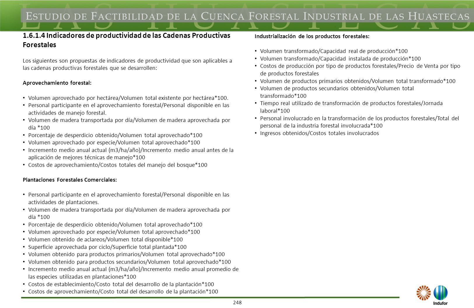 248 1.6.1.4 Indicadores de productividad de las Cadenas Productivas Forestales Los siguientes son propuestas de indicadores de productividad que son a